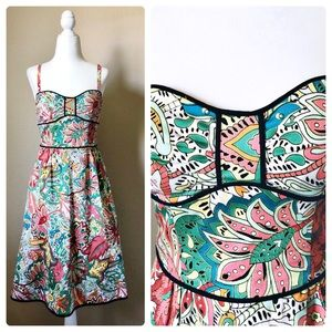 Anthropologie floral strapless bustier dress
